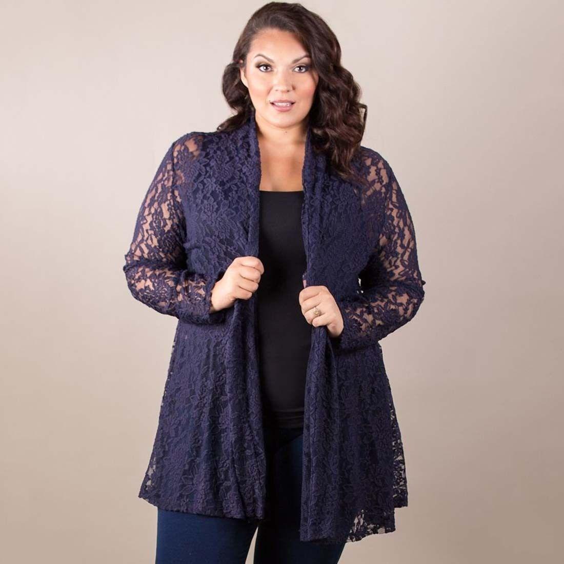 Women Grace Lace Long Sleeve Cardigan Casual Loose Thin Coat ...