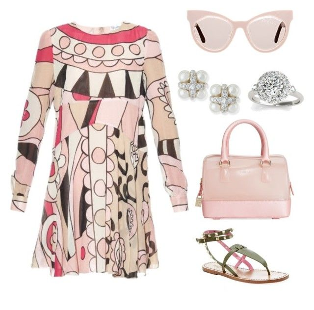 """""""Untitled #861"""" by bushphawan ❤ liked on Polyvore featuring RED Valentino, Karen Walker, Furla, Valentino, Majorica and Allurez"""