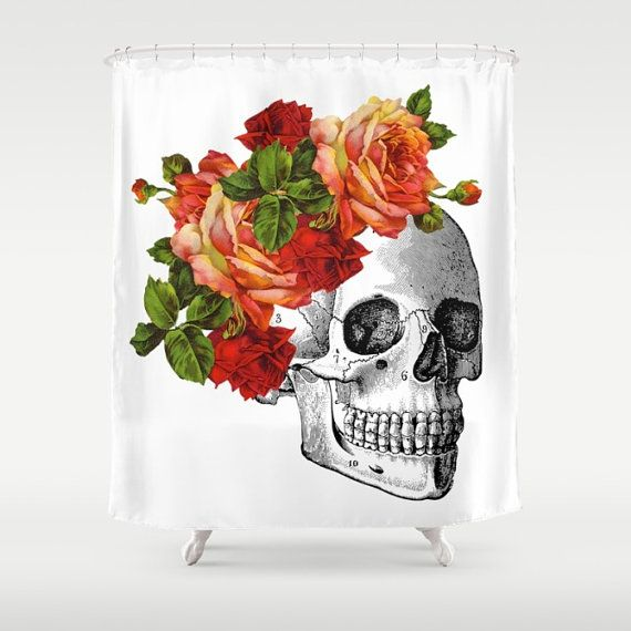 Skull Shower Curtain Day Of The Dead Dia De Los Muertos Bathroom Red Roses Bath