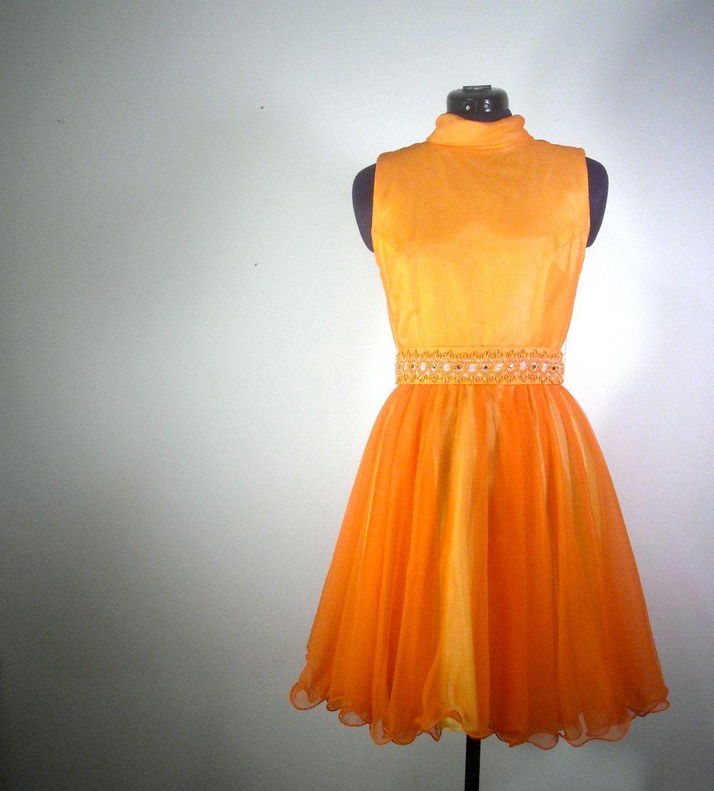Vintage Cocktail Dress 1960s Orange Sleeveless Party Dress Full ...
