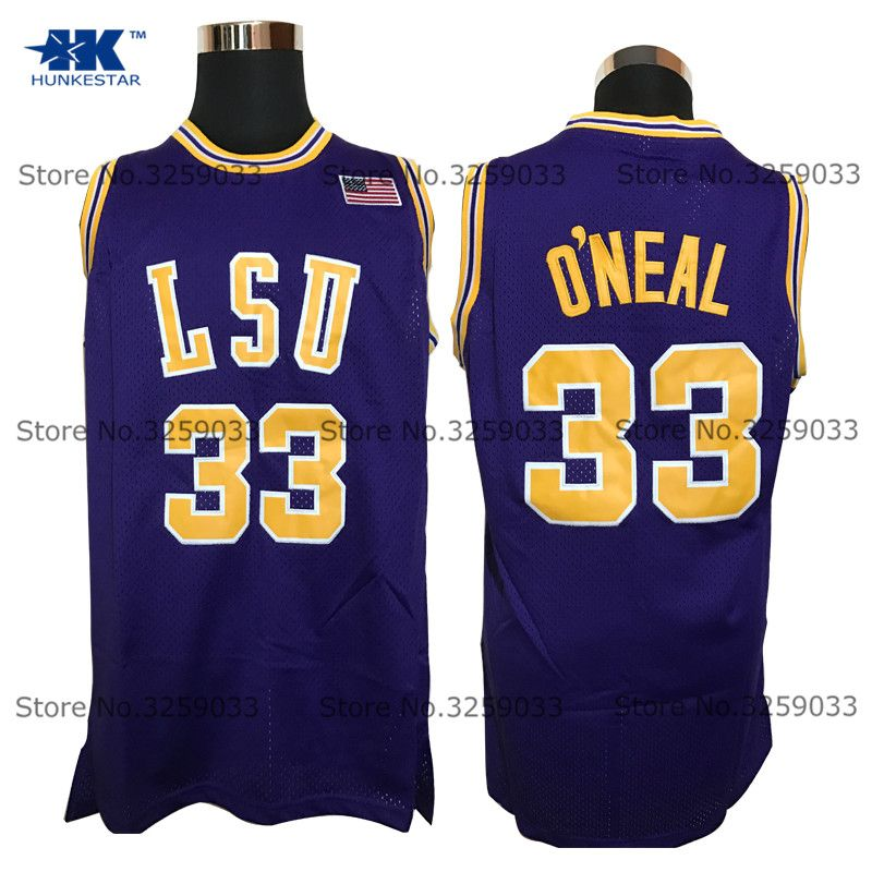 79d42cbf0 ... mens shaquille oneal jersey 33 lsu tiger college shaq oneal throwback  basketball jersey basket unifo