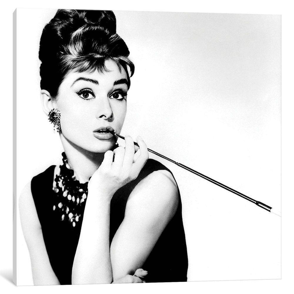 78bcd66f5d iCanvas  Breakfast At Tiffany s Series  Audrey Hepburn Smoking  by Radio  Days Canvas Print (depth 1.5 - size 26