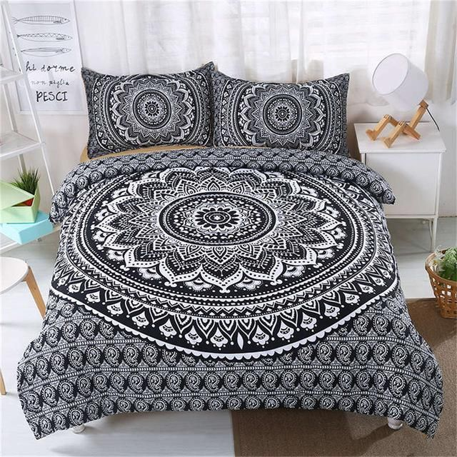 Beautiful Mandala Print Duvet Cover Boho Style With Pillowcases Bed Linen Sets Bed Linens Luxury Patterned Bedding Sets
