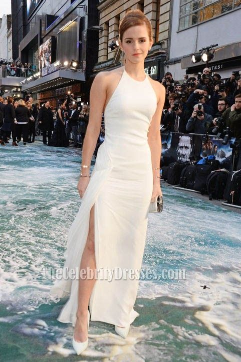 Emma Watson White Halter Prom Dress Evening Gown Noah premiere ...