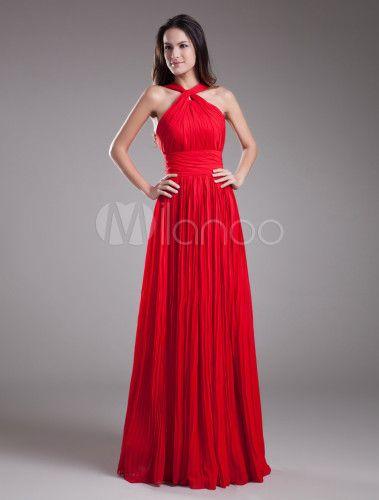 3fabff13de Vestido de damas de honor de chifón con escote de hombros caídos -  Milanoo.com