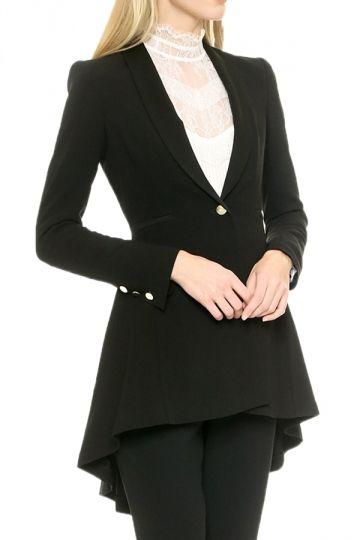 e8caccf68a110 Black Modern Womens Ruffle Shrug Plain Tail Coat - PINK QUEEN ...