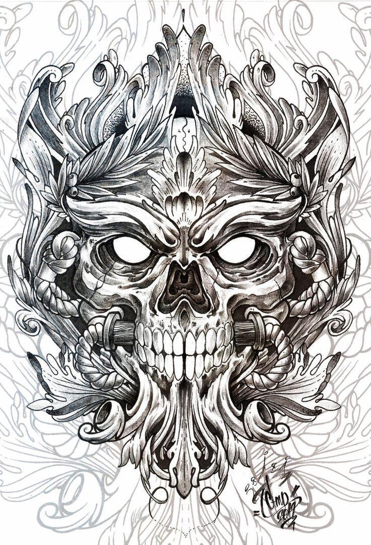 Skull Tattoo Designs On Paper