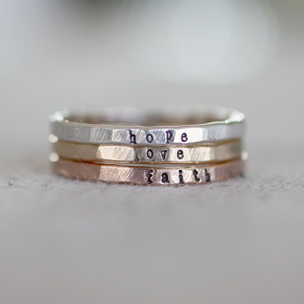 Teeny band rings I have one with all three of my childrens names