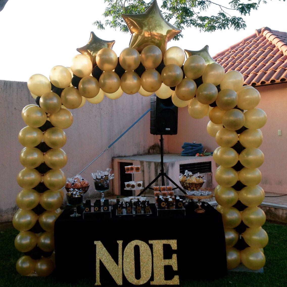 Golden And Black Arch Balloons Golden Party Oscar Party