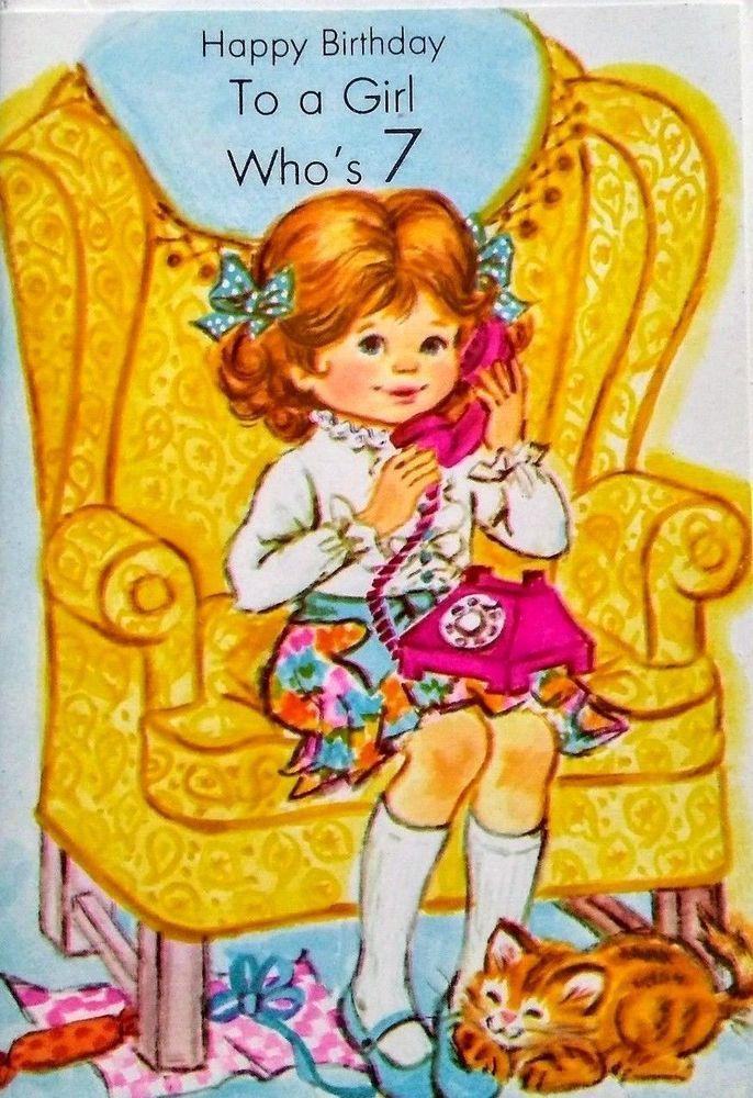 Details about vintage birthday greeting card unused girl 7th 7 years vintage birthday greeting card unused girl 7th 7 years old cat kitten phone cardmasters birthdaygirl7yearsold m4hsunfo