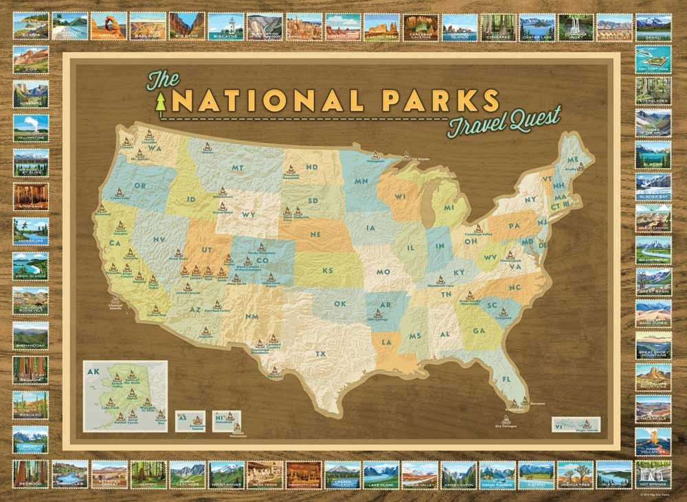 National Parks Travel Quest Poster Park, Road trips and Travel maps - new unique world map poster