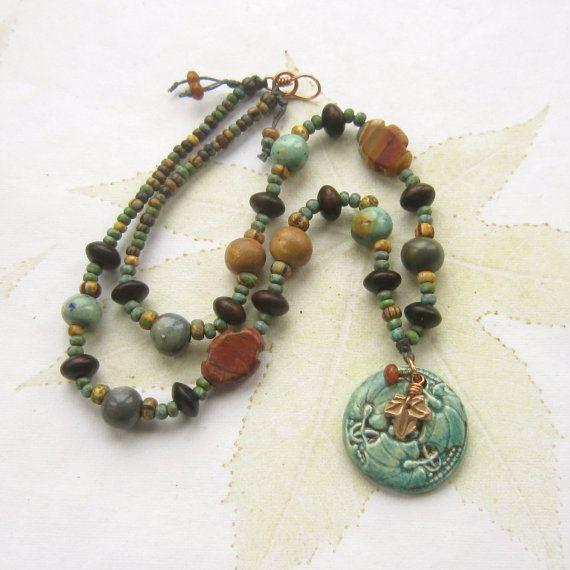 Beaded ceramic necklace ceramic pendant wood
