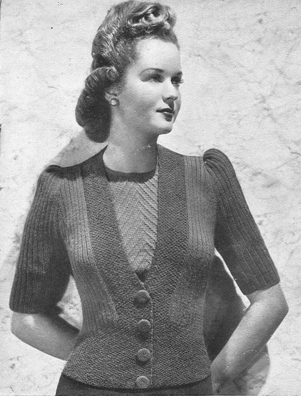 Vintage Knitting Pattern Basque Cardigan Cool Stitches Vintage