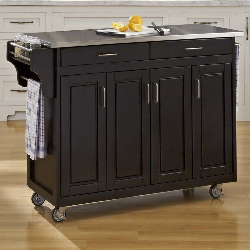 Littrell Kitchen Island With Stainless Steel Top Kitchen Island With Granite Top Black Kitchen Island Home Styles
