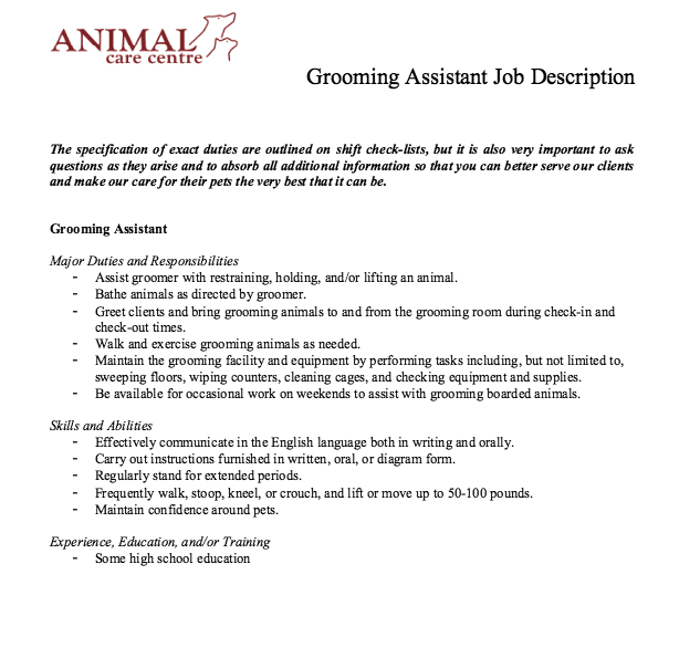 grooming assistant job description    resumesdesign