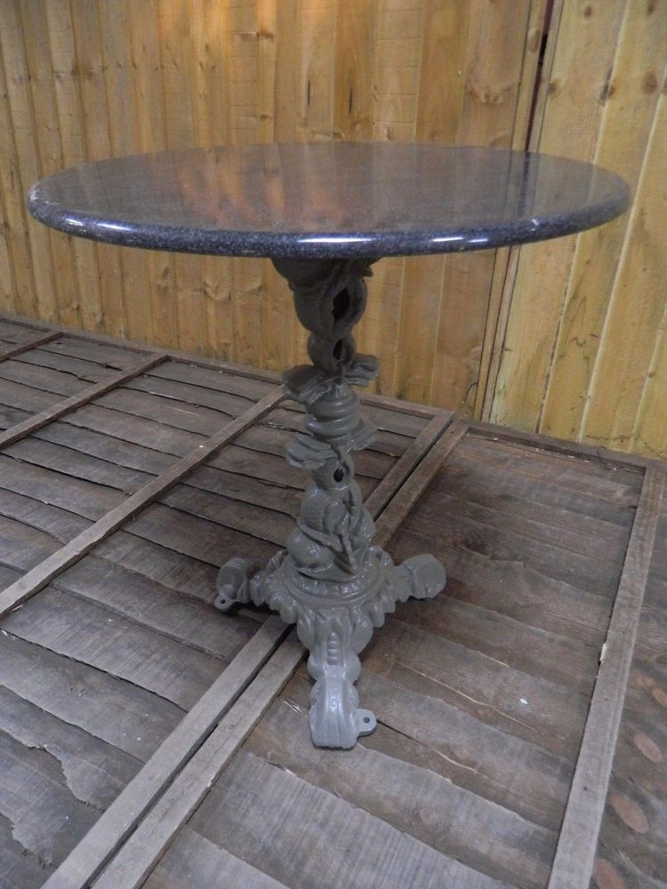 GREY CAST IRON BASE TABLE WITH GREY GRANITE TABLE TOP / BISTRO / BAR /  GARDEN