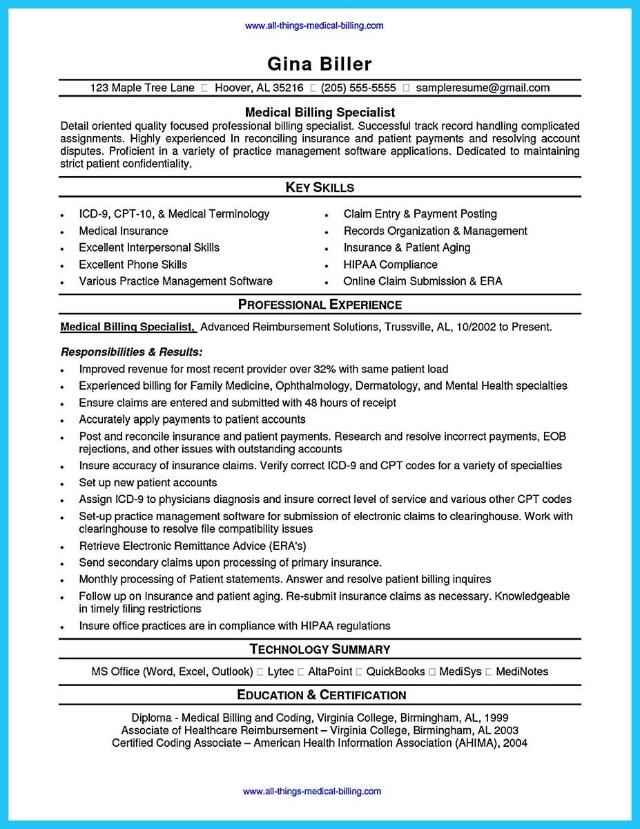 cool Exciting Billing Specialist Resume That Brings the