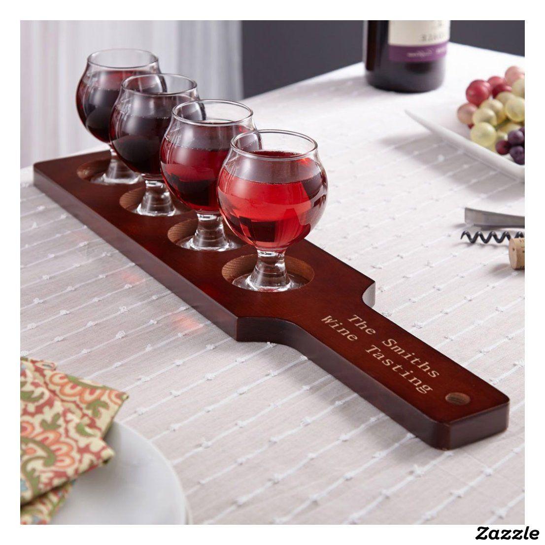 Unique Engraved Wooden Flight With Wine Glasses Zazzle Com In 2020 Wine Wine Tasting Party Unique Wine Glass