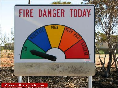Image 3 - Fire Danger  This sign uses indexical colours to convey fire danger visually. On signs, colours are understood as working in a scale, with warmer or darker colours representing danger. The combination of colours and simple language - fire danger today - makes this a clear conveyer of information.