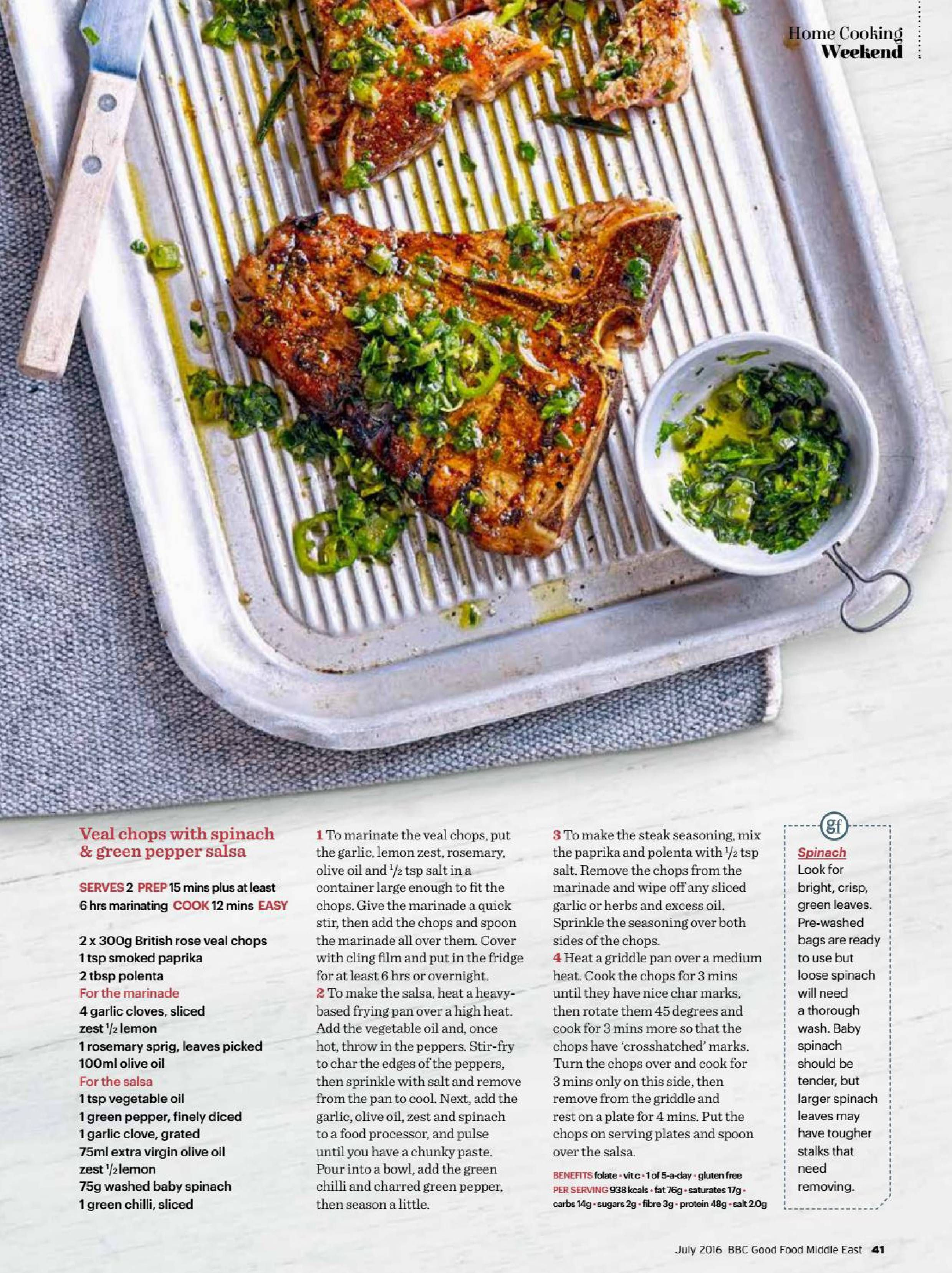Veal chops with spinach and green pepper salsa recipe bbc good veal chops with spinach and green pepper salsa recipe forumfinder Gallery