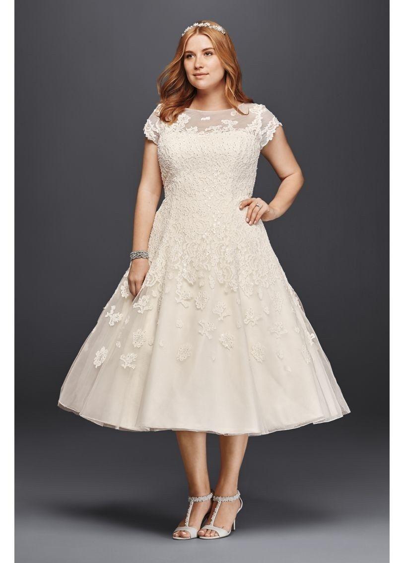 27 Designer Plus Size Wedding Dresses | Illusion neckline, Wedding ...