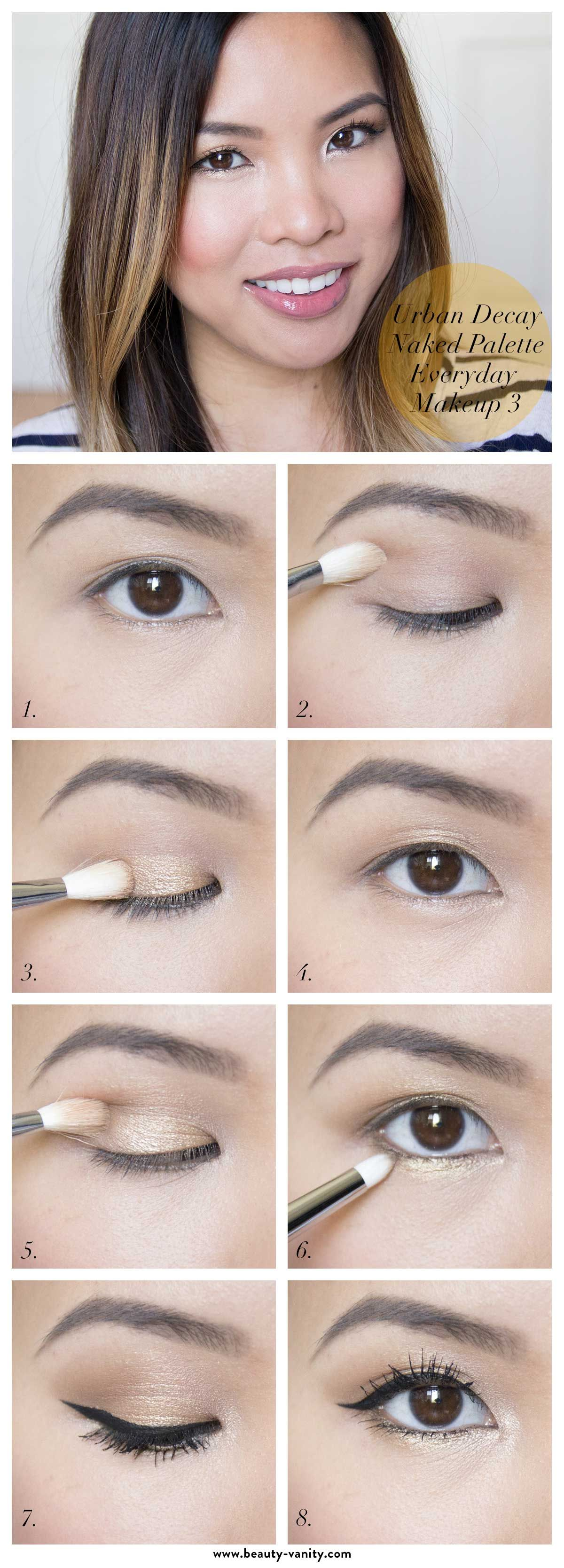 The Beauty Vanity  Urban Decay Naked Palette Gold Everyday Makeup Tutorial  For Asian & Hooded