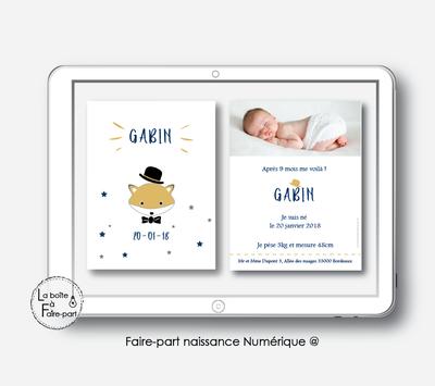Faire-part naissance garçon Numérique (PDF) -RENARD CHAPEAU