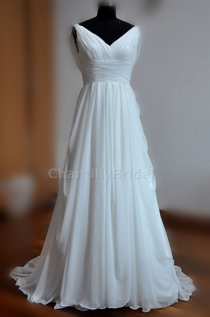 A-line V-neck Sweep Train White Chiffon Beach Wedding Dresses/Bridal ...