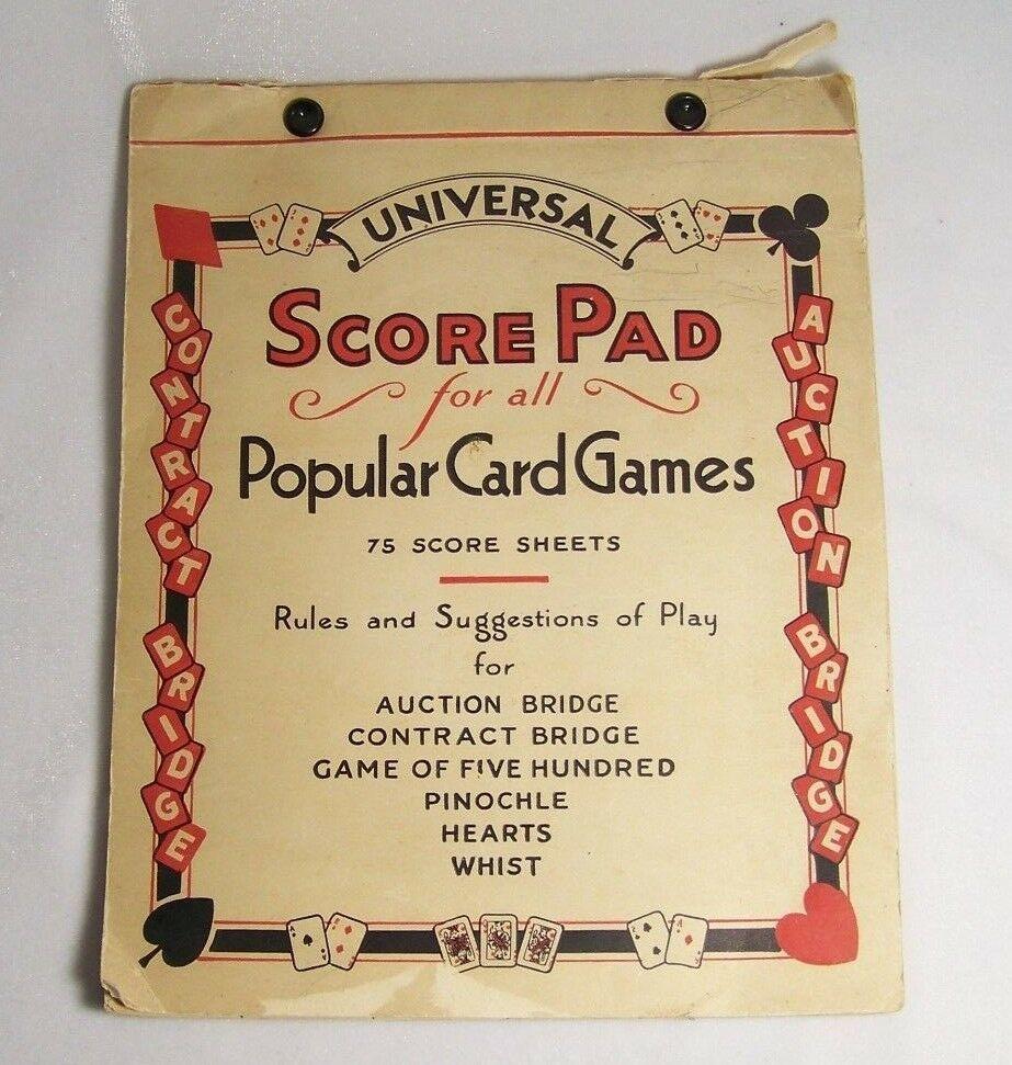 1930s Universal Card Game Score Pad Whist Bridge Pinochle