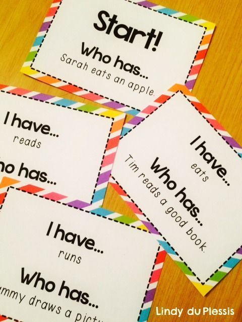 Action Verbs Game - (free) I have, who has? Students love playing - resume action words