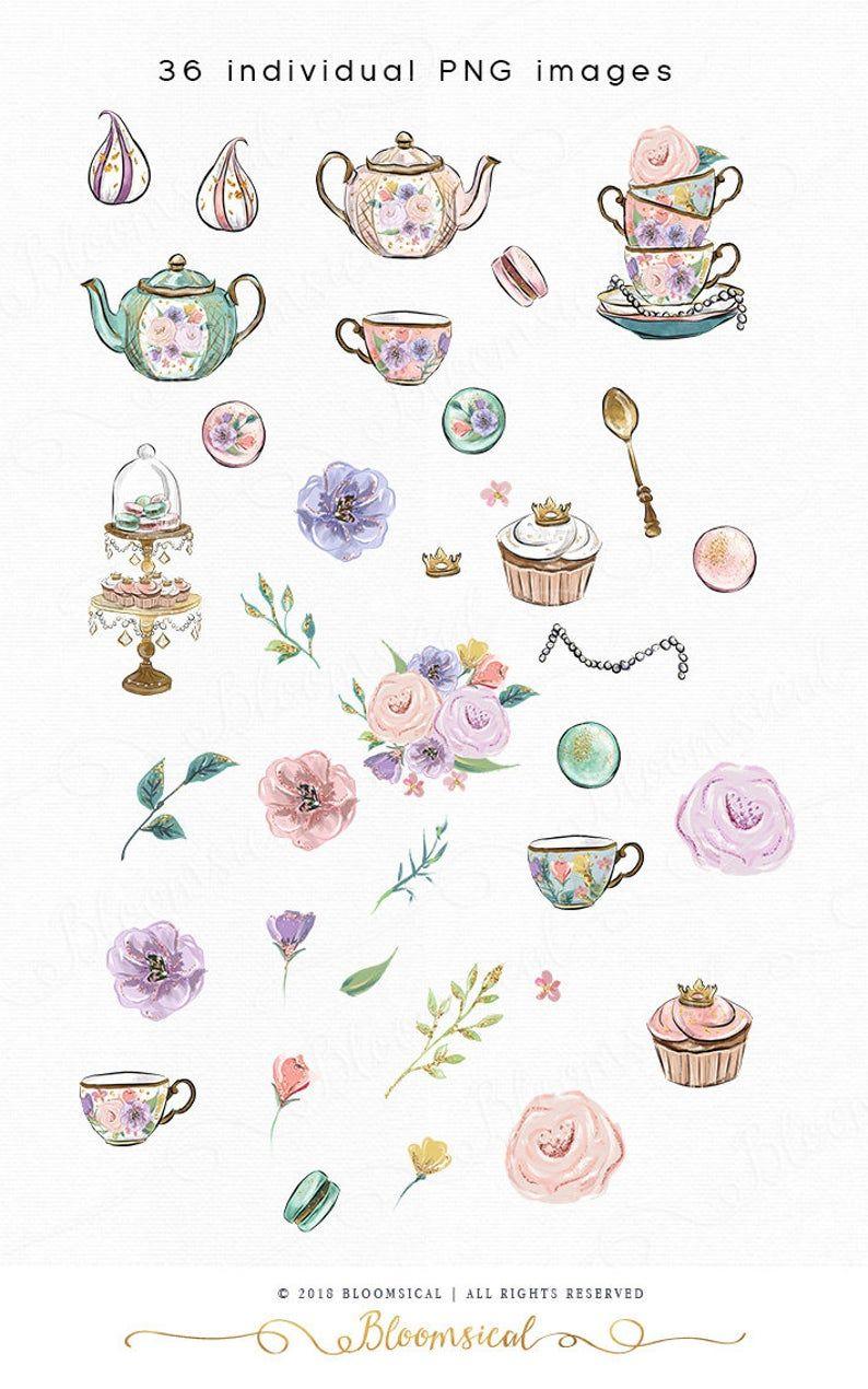 Tea Party Clip Art Whimsical Cupcake Macaron Princess Tea Etsy In 2020 Clip Art Tea Art Shabby Chic Flowers