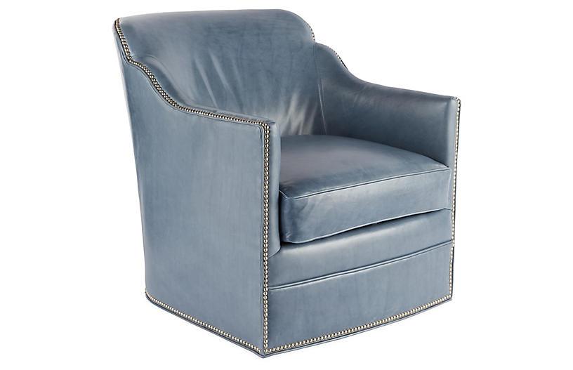 Best Hughes Swivel Chair Light Blue Leather Massoud 400 x 300