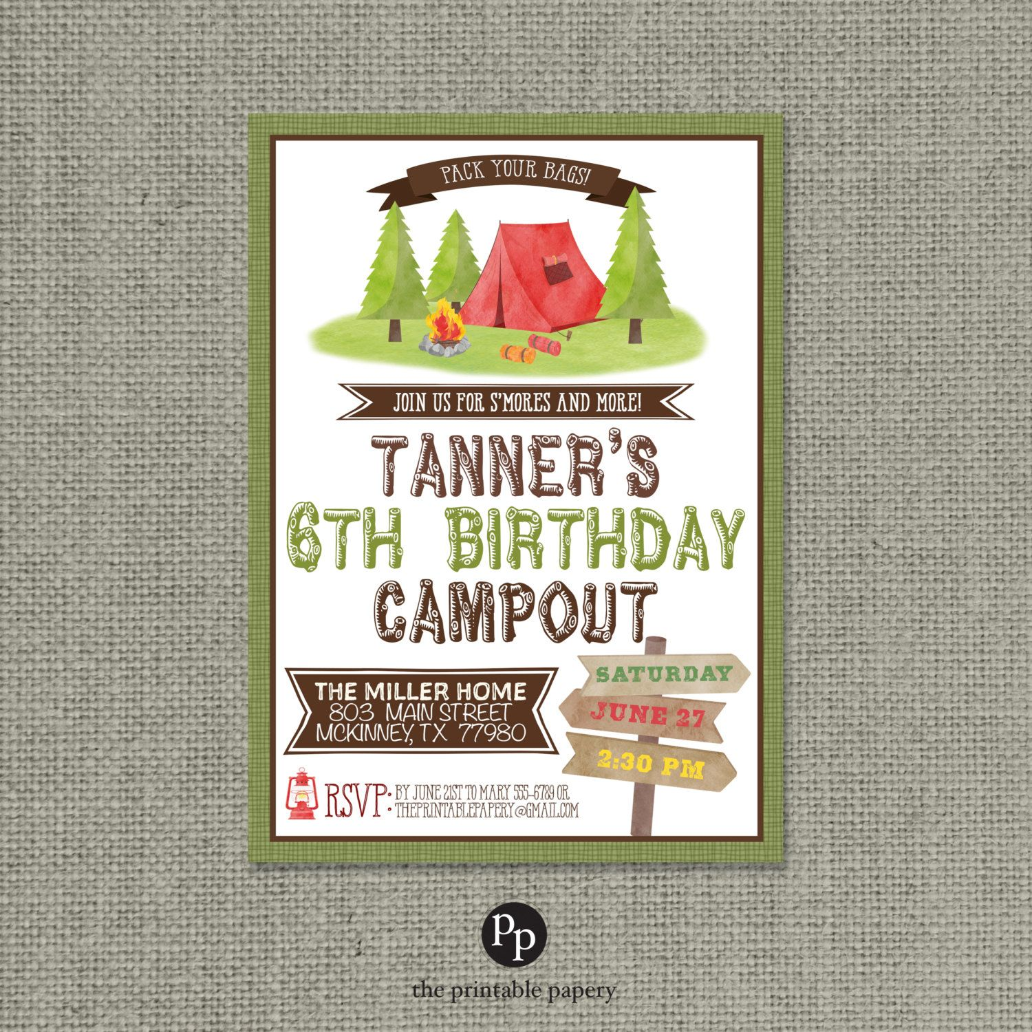 Printable Campout Party Birthday Invitation Card Tent