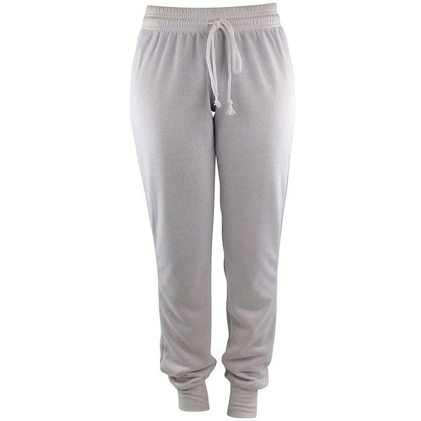 White Drawstring Ladies Jogger Exercise Sweatpants (€18) ❤ liked on Polyvore featuring activewear, activewear pants, bottoms, pants, sweatpants, white, white cuffed sweatpants, jogger sweat pants, white sweat pants and white sweatpants