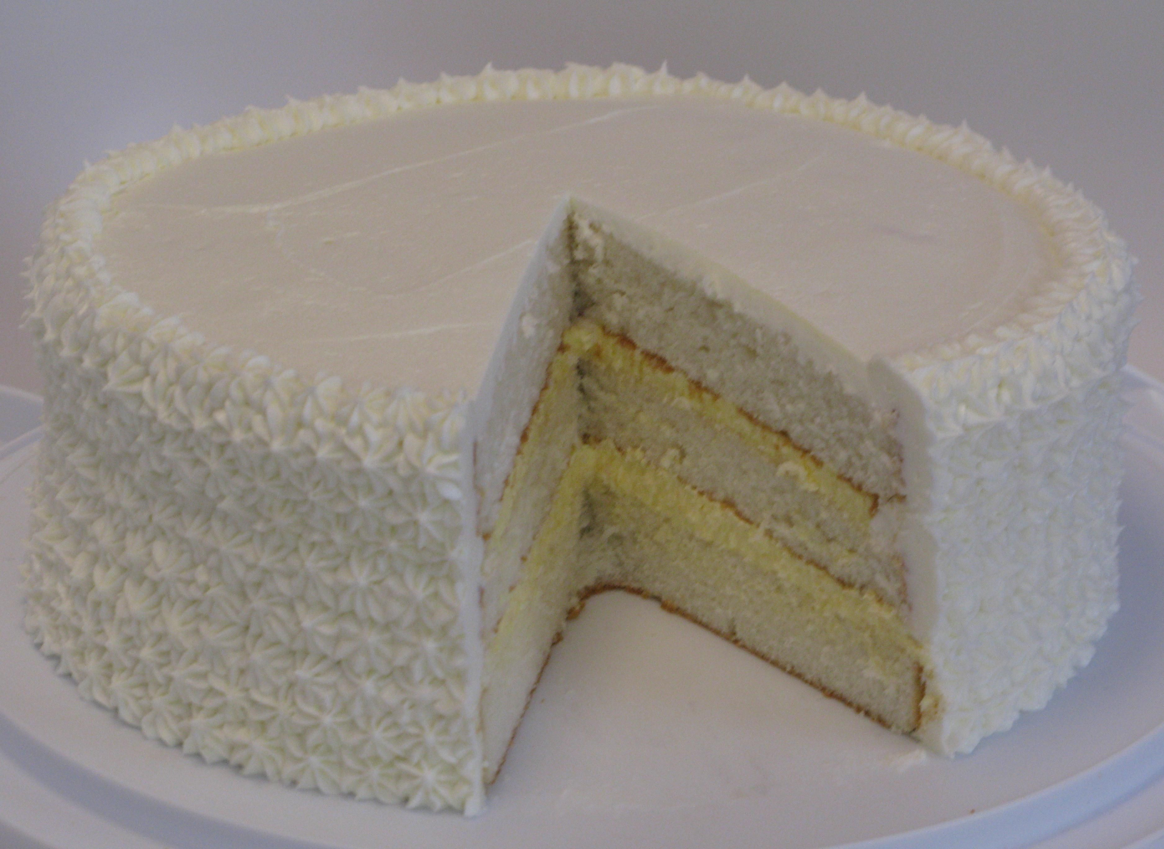 Img 3096 White Almond Cake With Bavarian Cream Filling And Whit