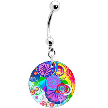 Retro Colorful Oriental Kimono Print Floral Belly Ring | Body Candy Body Jewelry