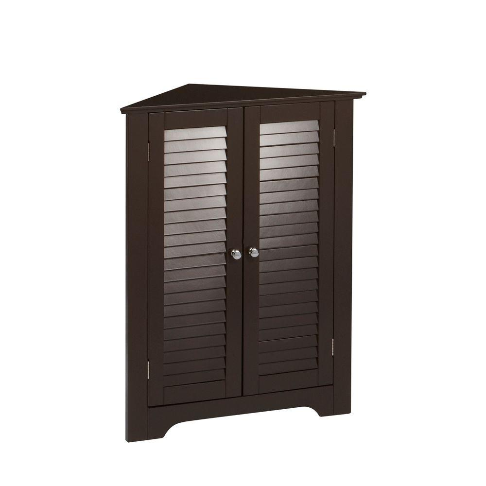 Riverridge Home Ellsworth 18 In L X 31 1 4 In H X 25 1 2 In H Freestanding Mdf 3 Shelf Corner Cabinet In Espresso 06 075 The Home Depot Corner Cabinet Cabinet Shelving Bathroom Standing Cabinet