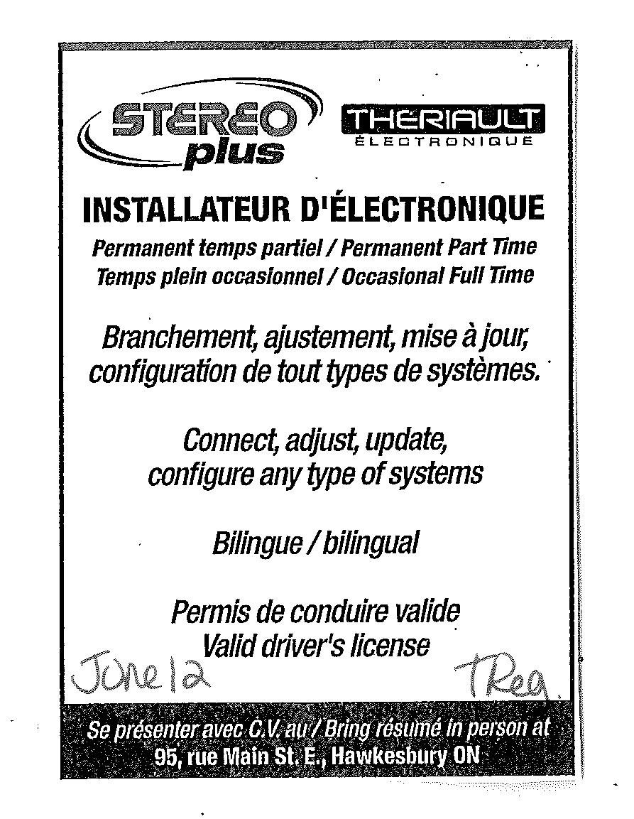 Job Posting For Electronic Installer Demande D Emploi Pour Installateur D Eletronique See Our Website For Other Jobs Voir Notre Site Web Pour Autres Post