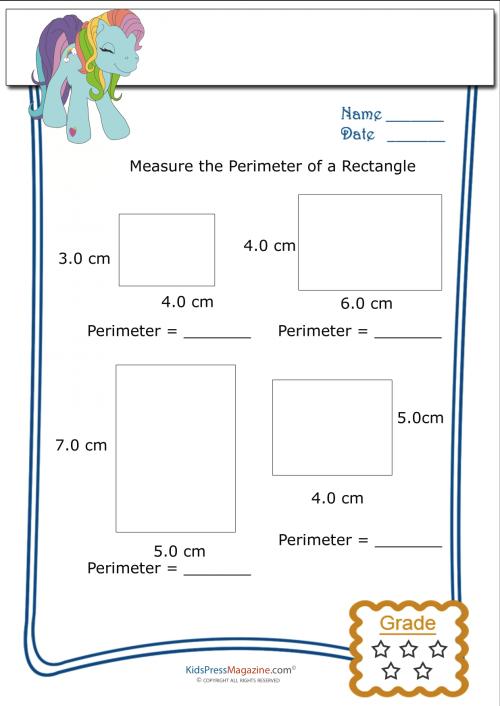Measure Perimeter Worksheet – Rectangle 1 | Geometry | Area ...