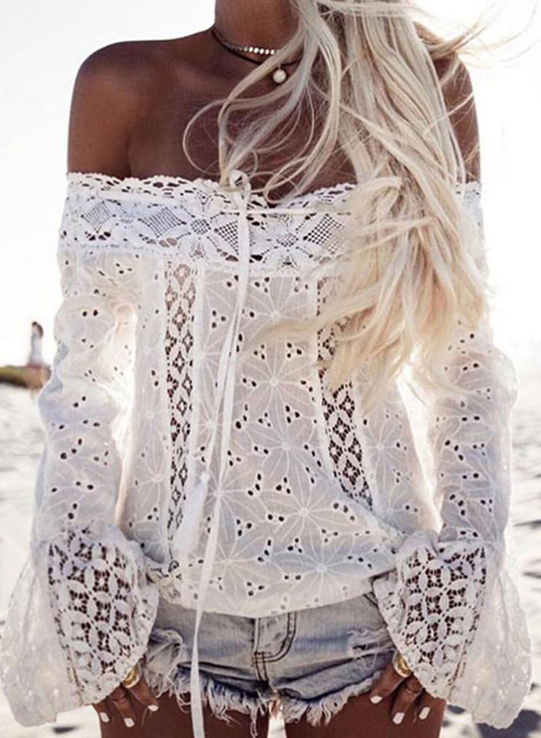 ced877bf1435c Women's off Shoulder Long Sleeve Lace Hollow out Blouse ...