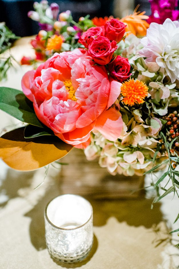 outdoor wedding decoration ideas for fall%0A Southern Wedding Ideas  Fall wedding in Georgia  Centerpiece with peonies  and magnolia leaves