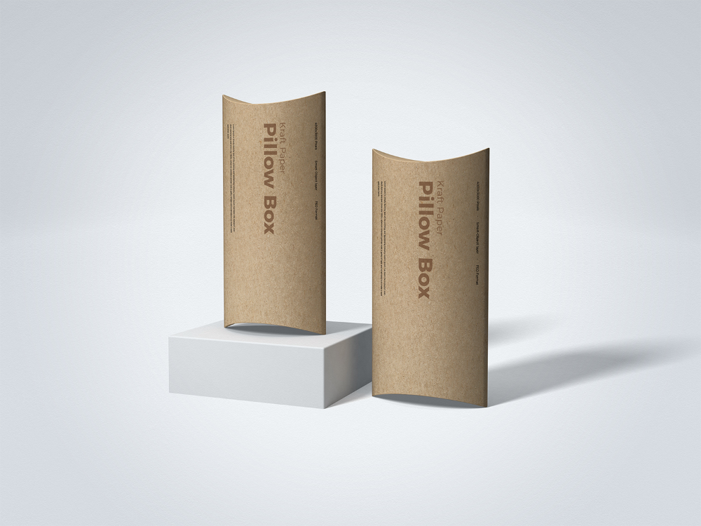 Free Kraft Paper Pillow Box Mockup Free Mockup In 2021 Box Mockup Pillow Box Free Mockup