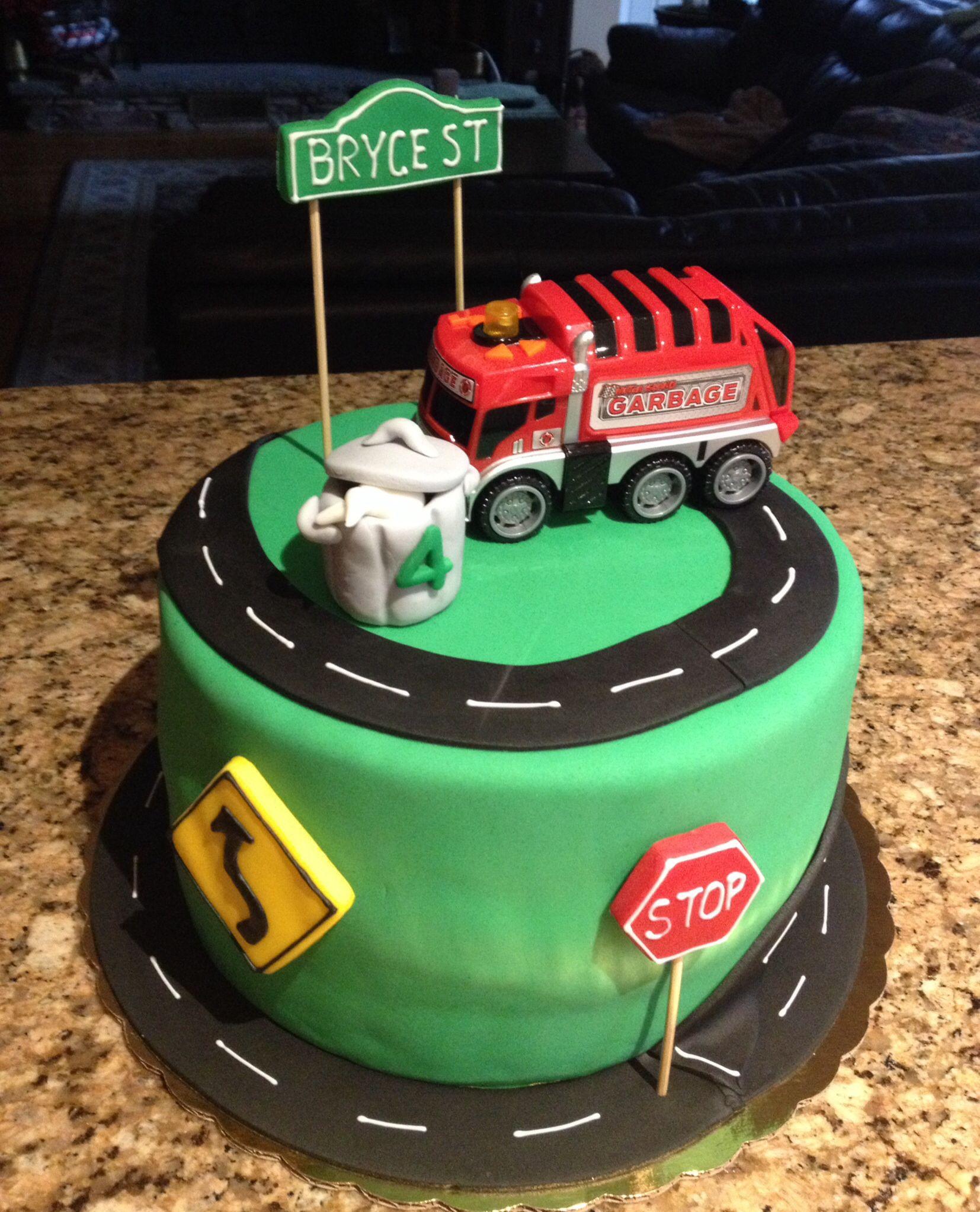 Peachy Garbage Truck Cake Truck Birthday Cakes Garbage Truck Party Personalised Birthday Cards Veneteletsinfo