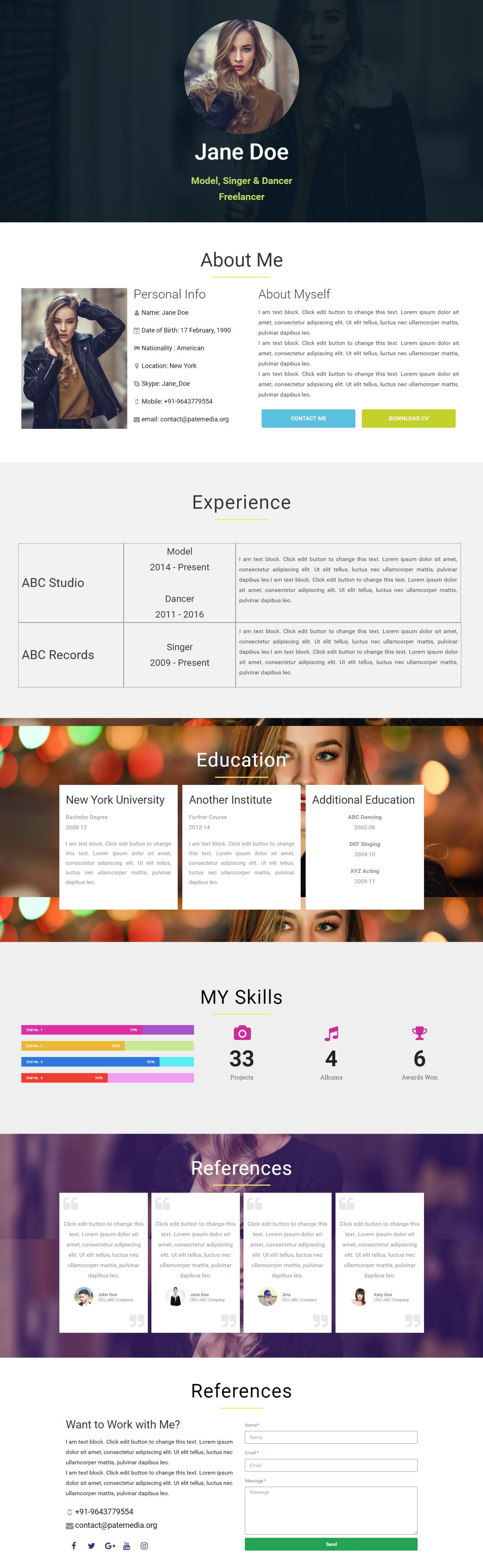 Cv Resume One Page Website Elementor Layout Template Free Download Makeinelementor Wordpress One Page Website Cool Websites Html5 Templates