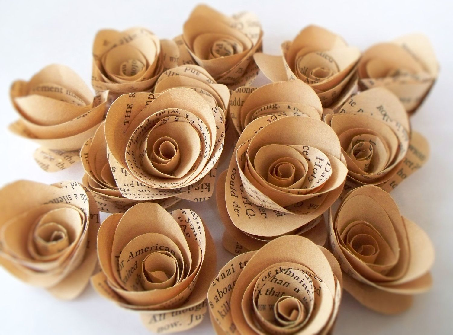 50 tanlight brown paper flowers made from vintage book pages flower 50 tanlight brown paper flowers made from vintage book pages mightylinksfo