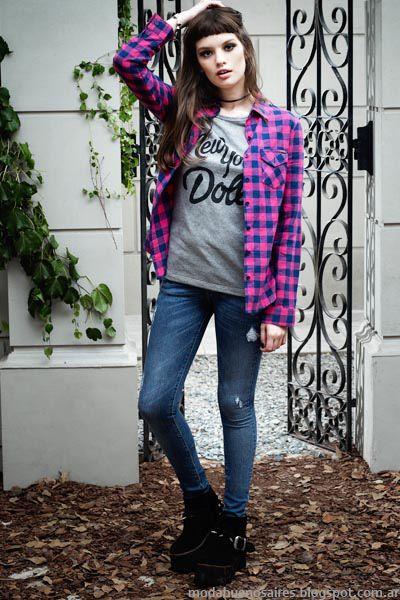 moda en ropa urbana de mujer argentina marca vov jeans coleccin otoo invierno