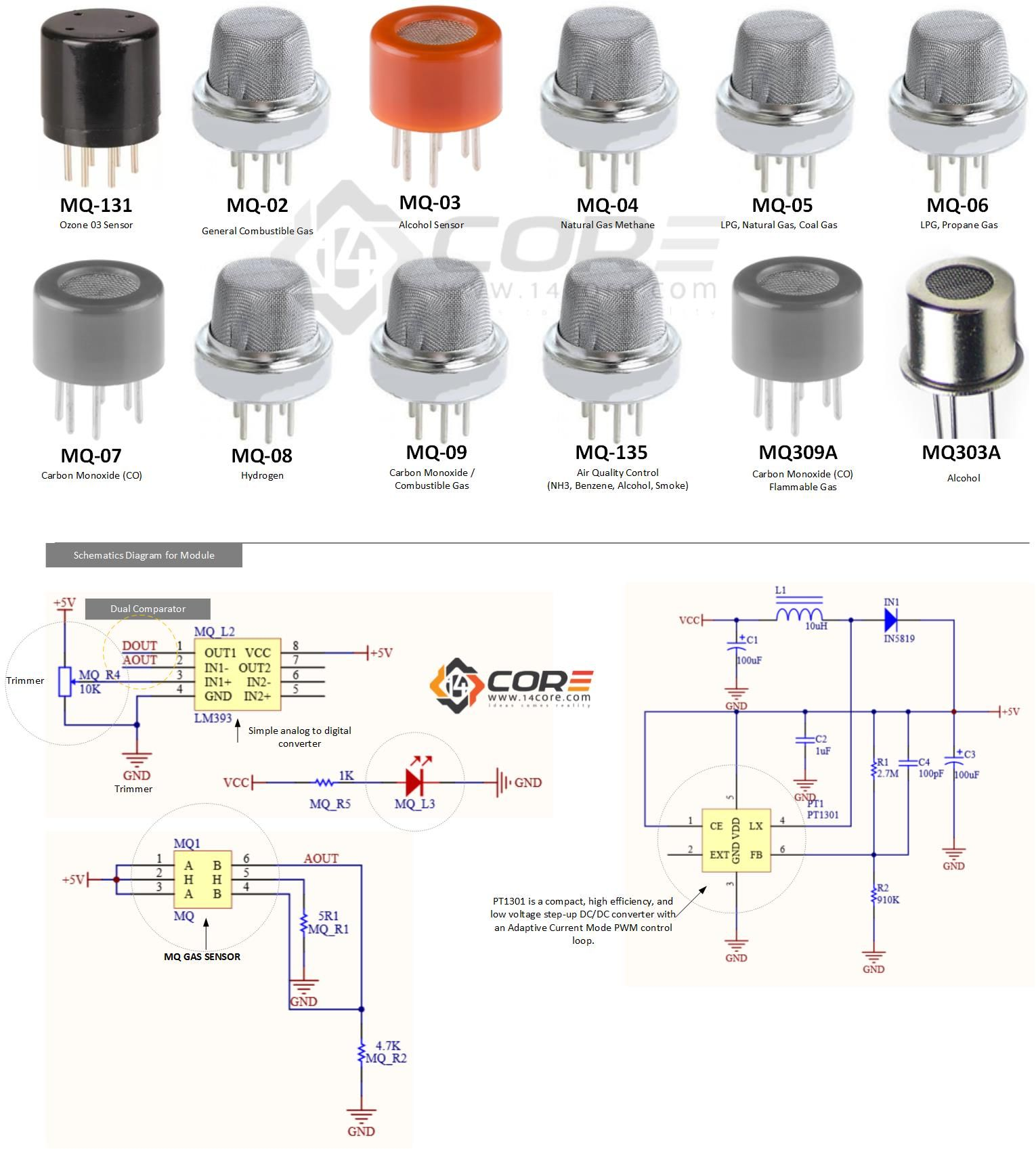 Wiring the MQ-XX Sensor for Ozone, LPG, C3H8, CO, H, C2H6O