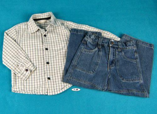 Boys Denim Blue Jeans Shirt Lot Size 3T