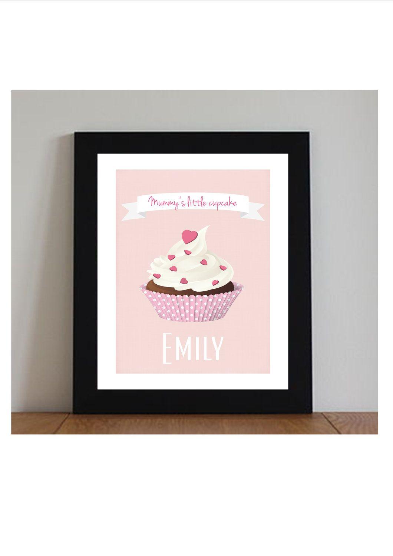 Personalised Cupcake Nursery Art Print Pink Decor Personalized