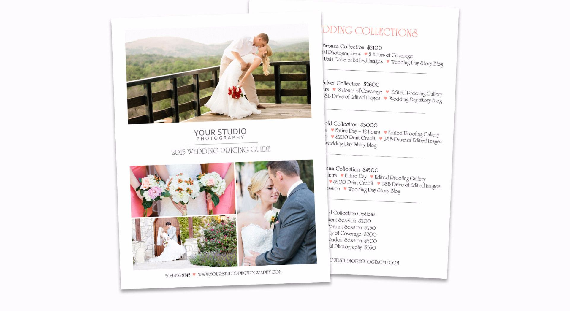 Wedding Price List Photoshop Template For Photographers From Posy